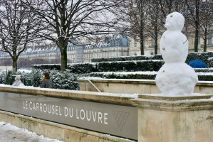 A Snow day in Paris Snowman at the Louvre Carrousel
