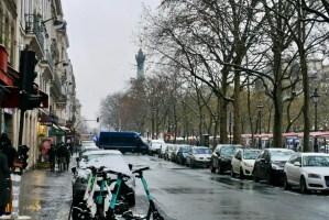 A Snow Day in Paris Gendarmes vehicles blocking Boulevard Richard Lenoir at the Bastille