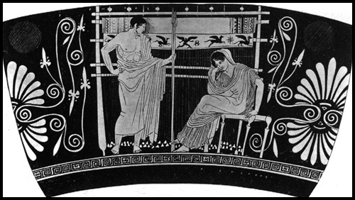 Penelopa i Telemach; Skyphos datowany na 440-430 p.n.e via college.columbia.edu
