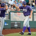 Jun 21, 2016; Omaha, NE, USA; TCU Horned Frogs infielder Luken Baker (19) greets outfielder Josh Watson (7) after scoring in the second inning against the Coastal Carolina Chanticleers in the 2016 College World Series at TD Ameritrade Park. Mandatory Credit: Steven Branscombe-USA TODAY Sports