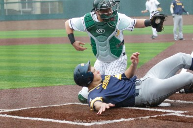 2/17/17: USF BASE vs N. Colorado at Benedetti Diamond in San Francisco, CA. San Francisco Dons catcher Dominic Miroglio (26), Northern Colorado infielder Brett Minnick (32) Image by Chris M. Leung for USF Dons Athletics