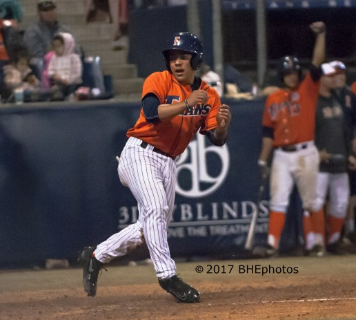 Hank LoForte scores on Dillon Persinger 6th inning single for the winning run - Photo By David Cohen, BHEphotos