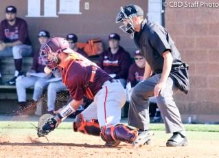Virginia Tech junior catcher Joe Freiday Jr blocks a ball in the dirt during Sunday's 8-2 victory over USC Upstate.
