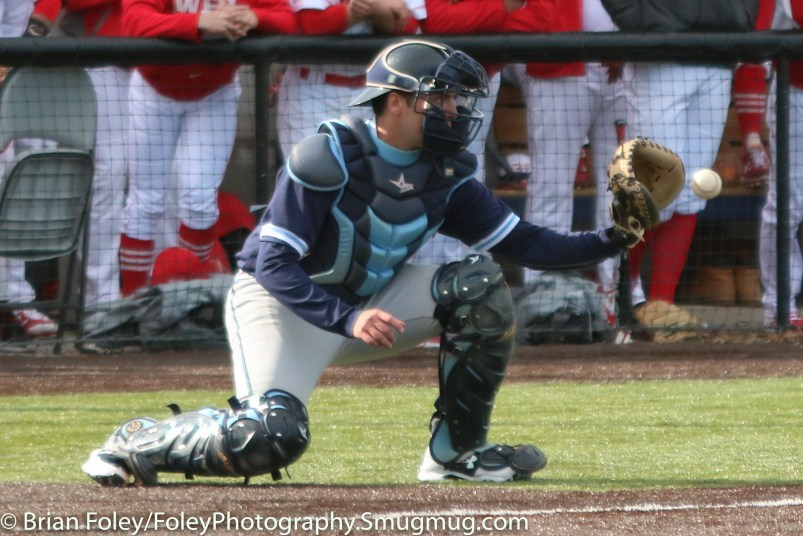 Monday, March 20, 2017; Northboro, MA; Gordon College Scots catcher Travis Benoit (27) catches an outfield throw during the Engineers come from behind 9-7 victory over the Scots at the New England Baseball Complex.