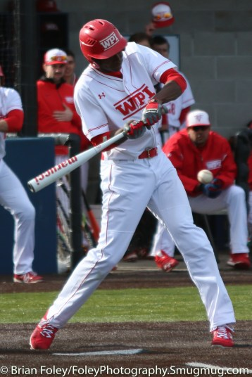 Monday, March 20, 2017; Northboro, MA; WPI Engineers outfielder Tyrone Patterson (23) swings for a pitch during the Engineers come from behind 9-7 victory over the Scots at the New England Baseball Complex.