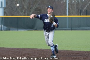 Monday, March 20, 2017; Northboro, MA; Gordon College Scots John Lagerfeldt (2) throws a ball to first base during the Engineers come from behind 9-7 victory over the Scots at the New England Baseball Complex.