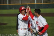 Monday, March 20, 2017; Northboro, MA; WPI Engineers third baseman Steven Gallagher (14) and outfielder Ryan Tropeano (10) celebrate a home run during the Engineers come from behind 9-7 victory over the Scots at the New England Baseball Complex.