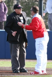 Monday, March 20, 2017; Northboro, MA; WPI Engineers head coach Mike Callahan argues a call with umpire Michael Finn during the Engineers come from behind 9-7 victory over the Scots at the New England Baseball Complex.