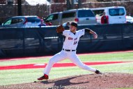 Friday, April 14, 2017; Brookline, MA; Northeastern Huskies pitcher Andrew Misiaszek (14) throws a pitch during the Huskies 6-3 victory over the Cougars in a CAA matchup at Parsons Field.