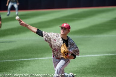 Sunday, April 16, 2017; Brookline, MA; College of Charleston pitcher Jakob Frishmuth (32) throws a pitch during the Huskies 6-3 victory over the Cougars in a CAA matchup at Parsons Field.