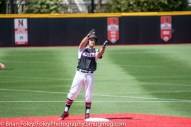 Sunday, April 16, 2017; Brookline, MA; Northeastern Huskies infielder Nick Fanneron (23) celebrates his double during the Huskies 6-3 victory over the Cougars in a CAA matchup at Parsons Field.