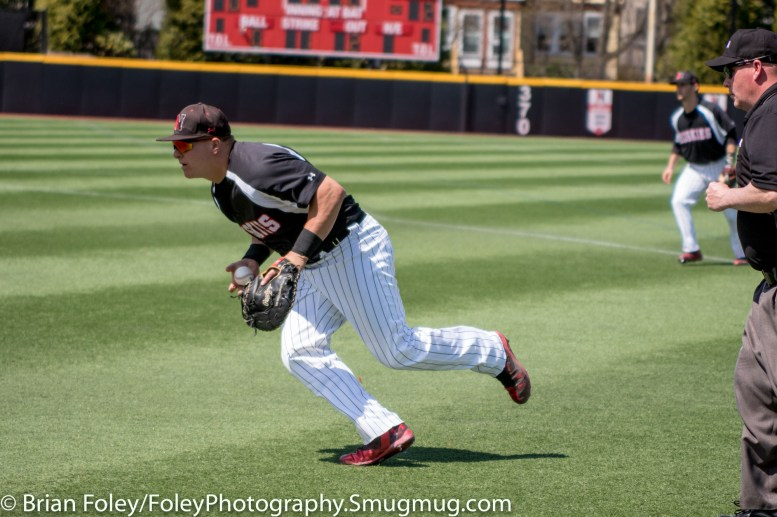 Sunday, April 16, 2017; Brookline, MA; Northeastern Huskies infielder Cam Hanley (10) runs to first base during the Huskies 6-3 victory over the Cougars in a CAA matchup at Parsons Field.