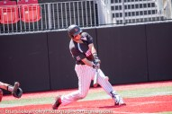 Sunday, April 16, 2017; Brookline, MA; Northeastern Huskies infielder Max Burt (24) swings for a pitch during the Huskies 6-3 victory over the Cougars in a CAA matchup at Parsons Field.