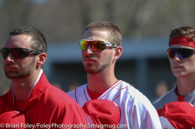 Tuesday, April 18, 2017; Northboro, MA; A couple of WPI Engineers listen to the national anthem before the WPI Engineers 12-4 victory over the MIT Engineers in a NEWMAC conference matchup.
