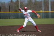 Tuesday, April 18, 2017; Northboro, MA; WPI Engineers third baseman Steven Gallagher (14) makes a throw to first base during the WPI Engineers 12-4 victory over the MIT Engineers in a NEWMAC conference matchup.
