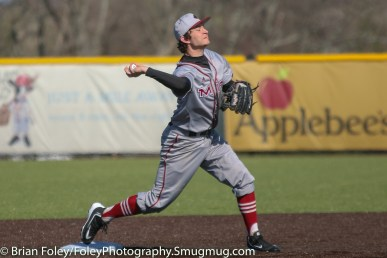 Tuesday, April 18, 2017; Northboro, MA; MIT Engineers infielder Austin Filiere (22) makes a throw to first base during the WPI Engineers 12-4 victory over the MIT Engineers in a NEWMAC conference matchup.