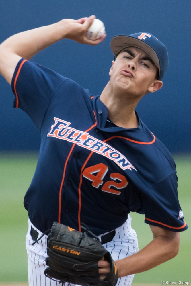 CSUF starting pitcher Gavin Velasquez. Photo by Steve Cheng, BHEphotos.