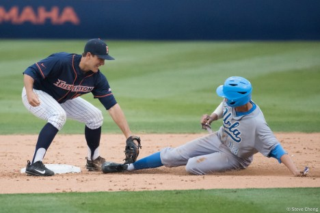 Jeremy Ydens is caught stealing second base. CSUF defeated UCLA 4-3, Fullerton, CA, May 9, 2017. Photo by Steve Cheng, BHEphotos.