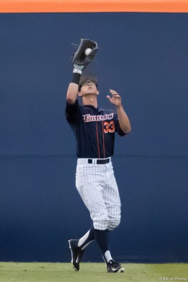 Hunter Cullen. CSUF defeated UCLA 4-3, Fullerton, CA, May 9, 2017. Photo by Steve Cheng, BHEphotos.