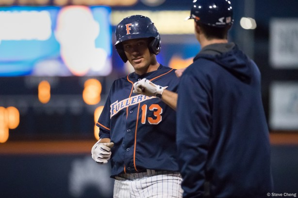 Timmy Richards. CSUF defeated UCLA 4-3, Fullerton, CA, May 9, 2017. Photo by Steve Cheng, BHEphotos.