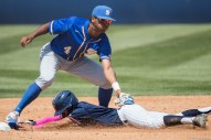 Sahid Valenzuela slides in safe at 2nd base after a wild pitch. CSUF defeated UCSB 12-3, Fullerton, CA, May 14, 2017. Photo by Steve Cheng, BHEphotos.