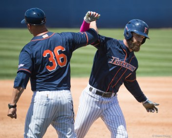 Taylor Bryant celebrates his 2-run home run in the 3rd inning. CSUF defeated UCSB 12-3, Fullerton, CA, May 14, 2017. Photo by Steve Cheng, BHEphotos.