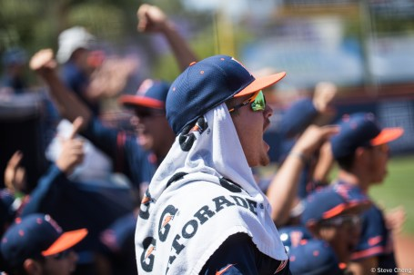 The Titan dugout reacts after Scott Hurst's 2-run home run in the 3rd inning. CSUF defeated UCSB 12-3, Fullerton, CA, May 14, 2017. Photo by Steve Cheng, BHEphotos.