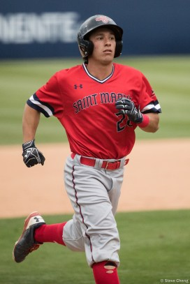 Edward Haus homered to left center for a 1-0 lead in the 2nd inning. Saint Mary's defeated CSUF 12-4, Fullerton, CA, May 15, 2017. Photo by Steve Cheng, BHEphotos.