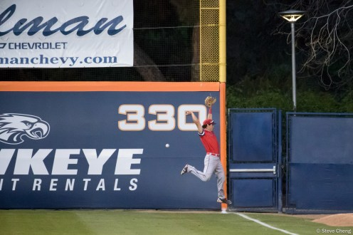 Joe Vranesh can't catch Sahid Valenzuela's double down the right field line in the 5th inning. Saint Mary's defeated CSUF 12-4, Fullerton, CA, May 15, 2017. Photo by Steve Cheng, BHEphotos.