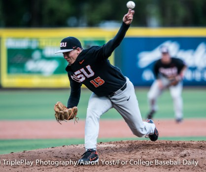 Oregon State starter Luke Heimlich releases a fastball during the second inning of Thursday's Civil War game with Oregon at PK Park.
