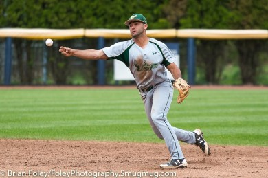 Friday, May 12, 2017; Storrs, CT; South Florida Bulls infielder Coco Montes (5) makes a throw to first base during the Huskies 2-1 victory over the Bulls.