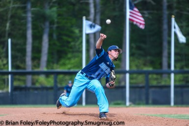 Thursday, May 18, 2017; Smithfield, RI; Rhode Island Rams pitcher Matt Murphy (15) throws a pitch during the Bulldogs 15-6 victory over the Rams.