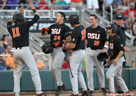 Oregon State defeated LSU 13-1 at the College World Series on Monday, June 19, 2017. (Photo by Michelle Bishop)