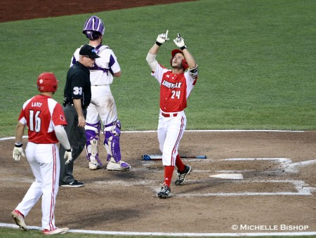 TCU defeated Louisville 4-3 at the College World Series on Thursday, June 22, 2017. (Photo by Michelle Bishop)