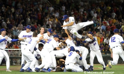 Florida celebrates after winning their first College World Series championship. Florida defeated LSU 6-1 at the College World Series on Tuesday, June 26, 2017. (Photo by Michelle Bishop)