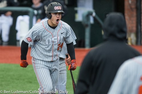 Corvallis, OR - JUNE 10: SKJ Harrison (24) of the Oregon State Beavers celebrates a home run during a 9-2 Oregon State Beavers victory over the Vanderbilt Commodores in an NCAA Championship Super Regional Playoff game on June 10, 2017 at Goss Stadium on the campus of Oregon State University in Corvallis, OR (Photo by Ben Ludeman)