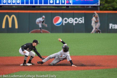 Corvallis, OR - JUNE 10: Connor Kaiser (12) of the Vanderbilt Commodores and Nick Madrigal (3) of the Oregon State Beavers during a 9-2 Oregon State Beavers victory over the Vanderbilt Commodores in an NCAA Championship Super Regional Playoff game on June 10, 2017 at Goss Stadium on the campus of Oregon State University in Corvallis, OR (Photo by Ben Ludeman)