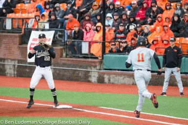 Corvallis, OR - JUNE 10: Julian Infante (22) of the Vanderbilt Commodores and Trevor Larnach (11) of the Oregon State Beavers during a 9-2 Oregon State Beavers victory over the Vanderbilt Commodores in an NCAA Championship Super Regional Playoff game on June 10, 2017 at Goss Stadium on the campus of Oregon State University in Corvallis, OR (Photo by Ben Ludeman)