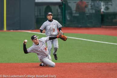 Corvallis, OR - JUNE 10: KJ Harrison (24) of the Oregon State Beavers during a 9-2 Oregon State Beavers victory over the Vanderbilt Commodores in an NCAA Championship Super Regional Playoff game on June 10, 2017 at Goss Stadium on the campus of Oregon State University in Corvallis, OR (Photo by Ben Ludeman)