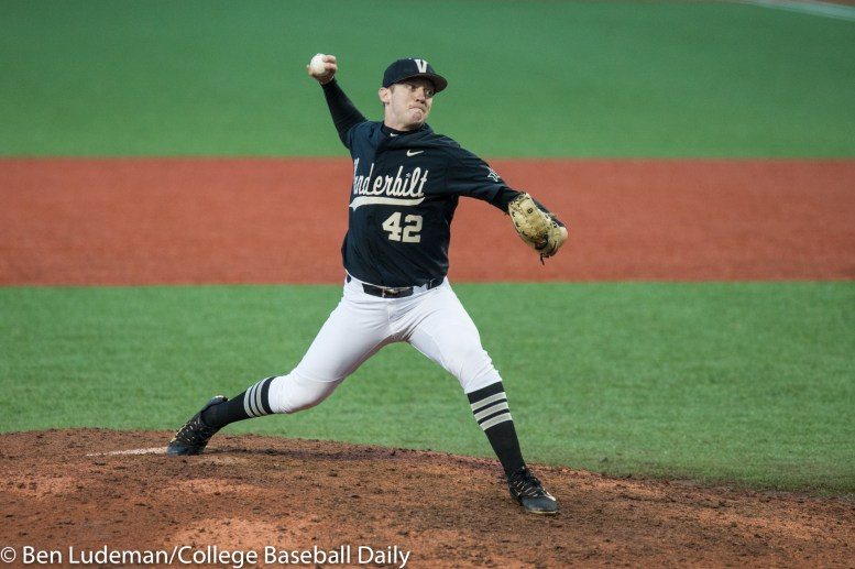 Corvallis, OR - JUNE 10: Maddux Conger (42) of the Vanderbilt Commodores during a 9-2 Oregon State Beavers victory over the Vanderbilt Commodores in an NCAA Championship Super Regional Playoff game on June 10, 2017 at Goss Stadium on the campus of Oregon State University in Corvallis, OR (Photo by Ben Ludeman)