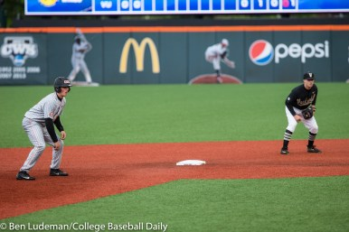 Corvallis, OR - JUNE 10: Ethan Paul (10) of the Vanderbilt Commodores and Adley Rutschman (35) of the Oregon State Beavers during a 9-2 Oregon State Beavers victory over the Vanderbilt Commodores in an NCAA Championship Super Regional Playoff game on June 10, 2017 at Goss Stadium on the campus of Oregon State University in Corvallis, OR (Photo by Ben Ludeman)
