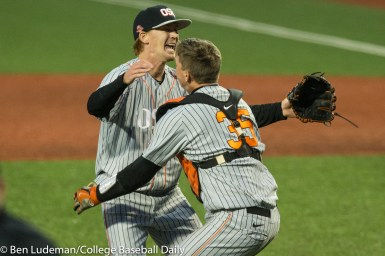 Corvallis, OR - JUNE 10: Bryce Fehmel (26) of the Oregon State Beavers and Adley Rutschman (35) of the Oregon State Beavers celebrate after a 9-2 Oregon State Beavers victory over the Vanderbilt Commodores in an NCAA Championship Super Regional Playoff game on June 10, 2017 at Goss Stadium on the campus of Oregon State University in Corvallis, OR (Photo by Ben Ludeman)