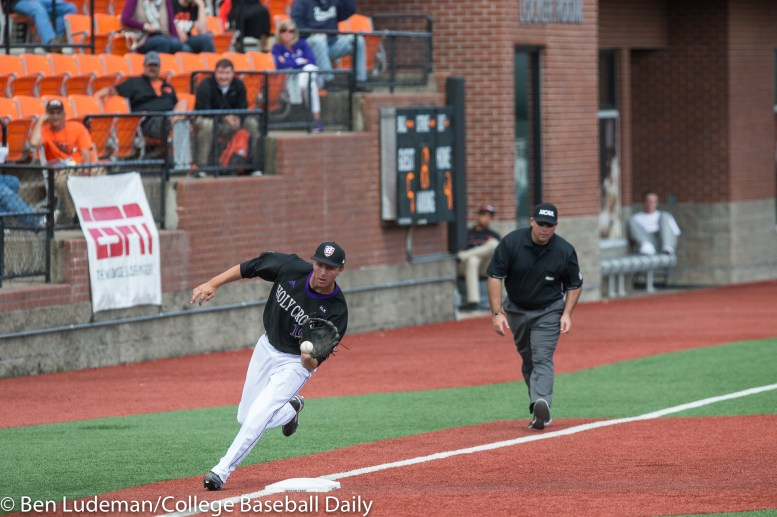 Corvallis, OR - JUNE 4: Bill Schlich (12) of the Holy Cross Crusaders during a 9-5 Yale Bulldogs victory over the Holy Cross Crusaders in an NCAA Championship Regional Playoff game on June 4, 2017 at Goss Stadium on the campus of Oregon State University in Corvallis, OR (Photo by Ben Ludeman)