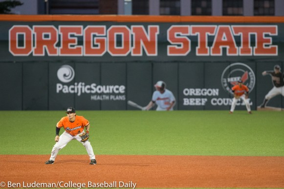 Corvallis, OR - JUNE 4: Cadyn Grenier (2) of the Oregon State Beavers during an 8-1 Oregon State Beavers victory over the Yale Bulldogs in an NCAA Championship Regional Playoff game on June 4, 2017 at Goss Stadium on the campus of Oregon State University in Corvallis, OR (Photo by Ben Ludeman)