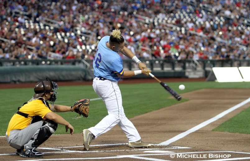 Morehead State's Niko Hulsizer won the 2017 College Home Run Derby. The eighth annual College Home Run Derby was held Saturday, July 1, 2017 at TD Ameritrade Park in Omaha. (Photo by Michelle Bishop)