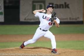 7/11/17, Hanover Insurance Park at Fitton Field Worcester, MA: USA Collegiate National Team Ryley Gilliam (44) of Clemson University throws a pitch during the USA Collegiate Team's 6-4 victory over the Futures League Prospects Team at Hanover Insurance Park at Fitton Field.