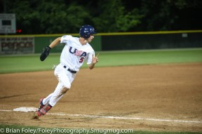 7/11/17, Hanover Insurance Park at Fitton Field Worcester, MA: USA Collegiate National Team infielder Braden Shewmake (5) of Texas A&M rounds third base during the USA Collegiate Team's 6-4 victory over the Futures League Prospects Team at Hanover Insurance Park at Fitton Field.