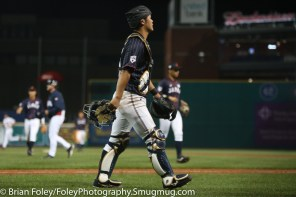 7/12/17, Dunkin Donuts Park Hartford, CT: Japan Collegiate All-Star Team Hiroki Obata (27) walks off the field after the USA Collegiate Team's 2-1 victory over the Japan Collegiate All-Star's at Dunkin Donuts Park in Hartford, Connecticut.