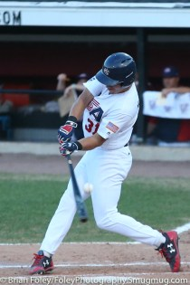 7/17/17, Holman Stadium Nashua, NH: USA Collegiate National Team outfielder Jake McCarthy (31) swings for a pitch during the USA Collegiate Team's 3-1 victory over the Japan Collegiate All-Star's at Holman Stadium in Nashua, New Hampshire.