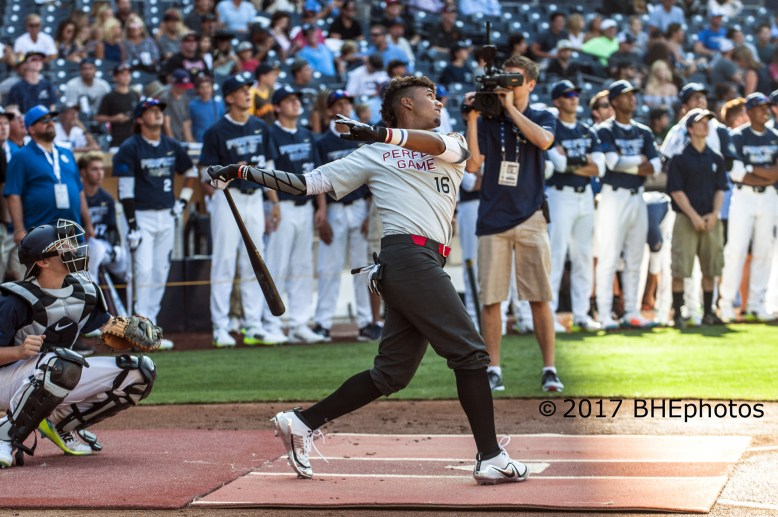 Nander De Sedas came up shot with only 8 home run is the Home Run Challenge. 2017 Perfect Game All American Game - Photo By David Cohen, BHEphotos